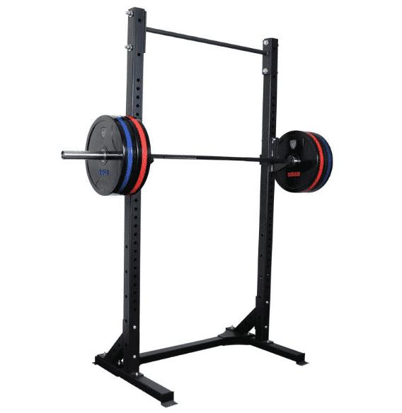 Squat rack home gym.