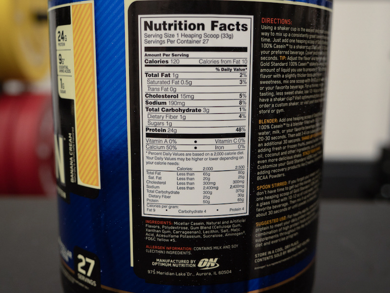 Optimum Nutrition Casein ingredients