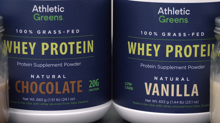 Athletic Greens Whey tubs