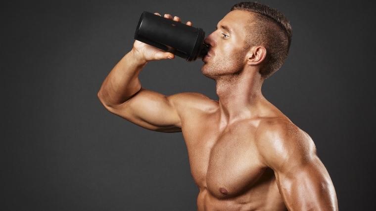 man drinking calories