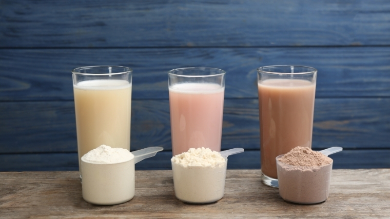 A line of protein shakes