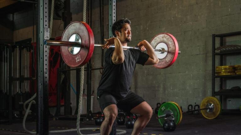 Man performing front squat