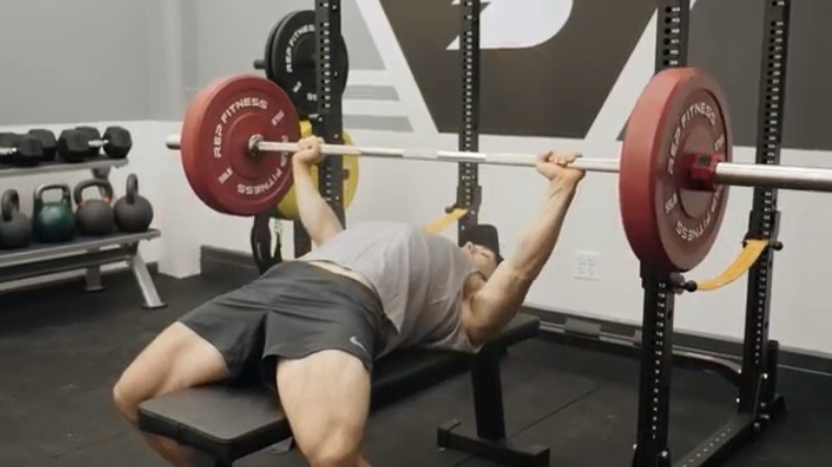 Lowering the barbell for bench press