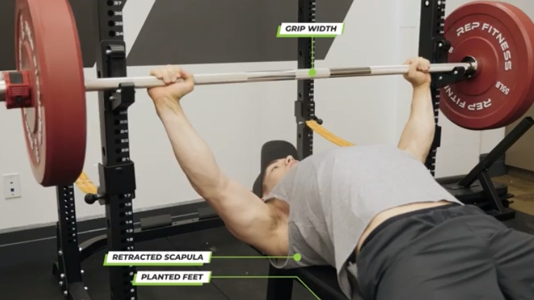 Setting up for the bench press